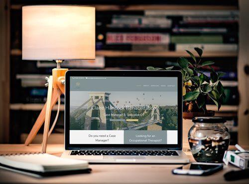 Screen shot of Calire Hancock website in a laptop screen